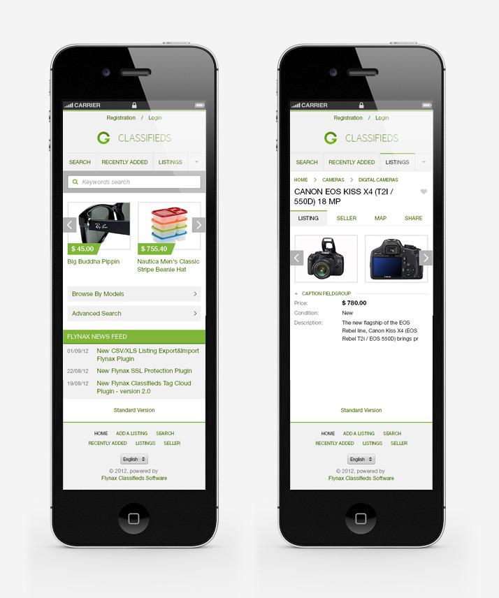 Мобильный шаблон Flynax Classifieds