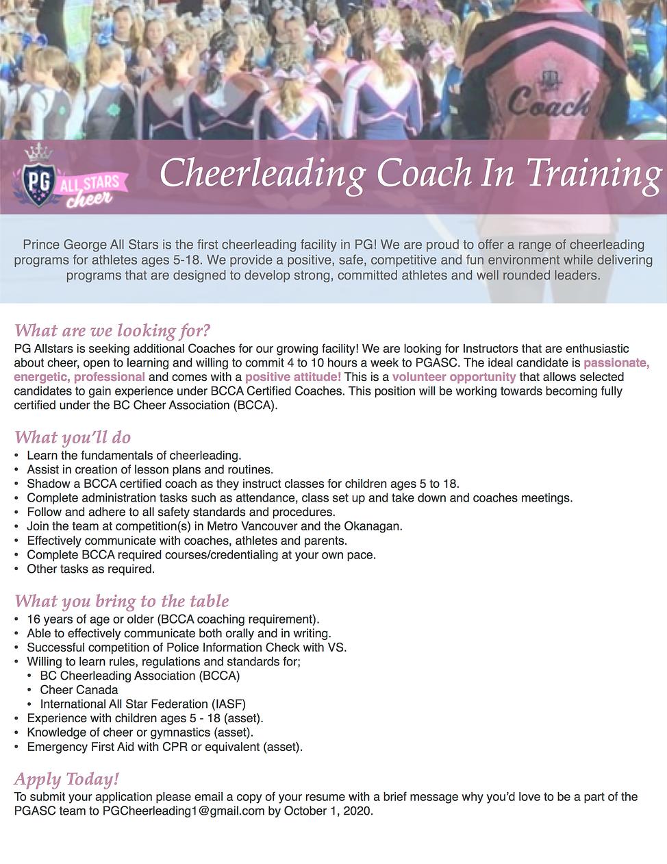 202007 - PGA - Job Posting - Coach In Tr