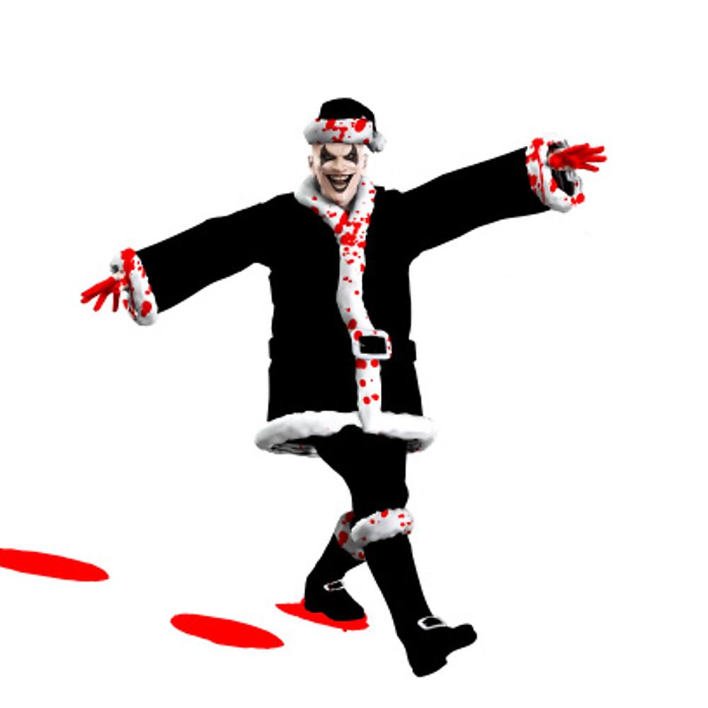 Evil Santa Claus clown skipping through the snow.