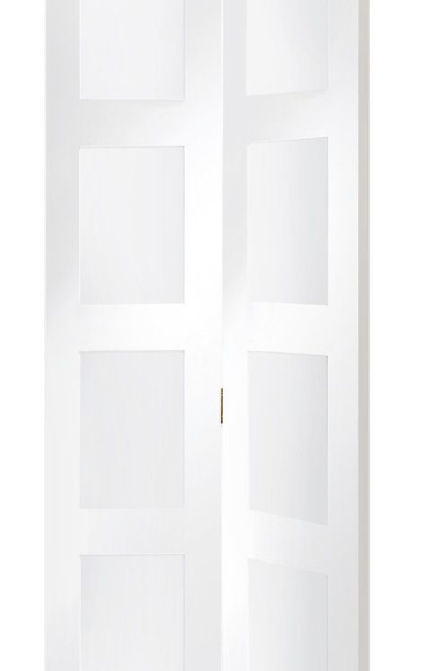 White Primed Shaker Bi-Fold with Clear Glass