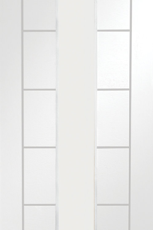 White Primed Palermo with Clear Glass Fire Door