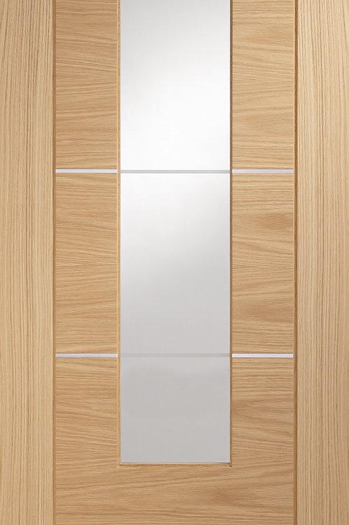 Pre-finished Portici Oak Clear Etched Glass