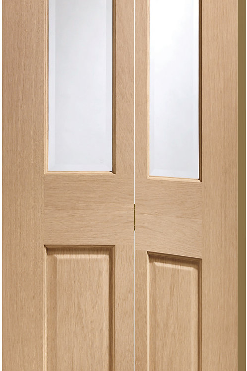 Unfinished Malton Oak Bi-Fold with Clear Glass