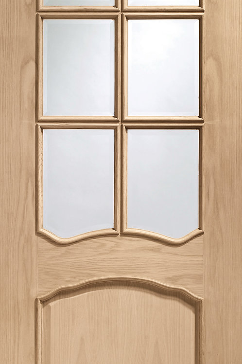 Unfinished Riviera Oak with Clear Bevelled Glass