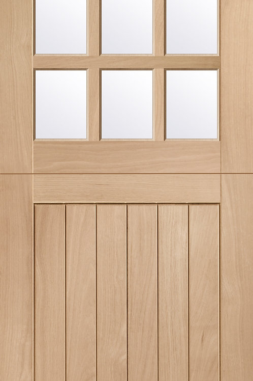 Unfinished Stable 9 Light with Clear Glass Oak