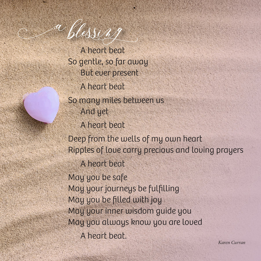 Prose poem by Karen Curran. Picture of rippled sand with pink heart stone.