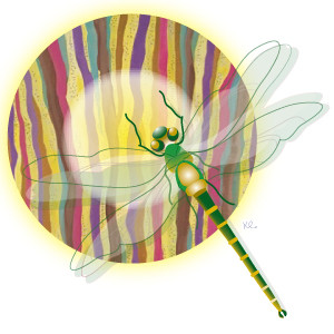 Illustration of a dragonfly moving into the light by Karen Curran