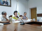 """On August 29 in a conference room of Regional branch """"Nur Otan"""" to Taraz the Round table t"""