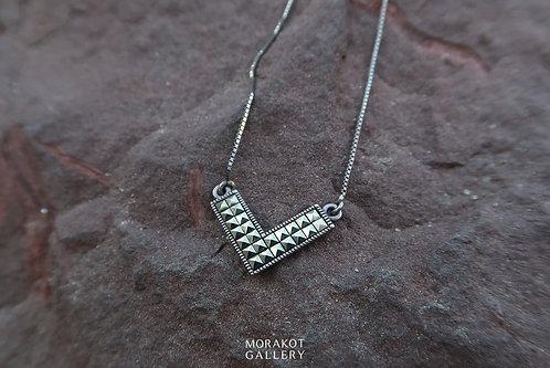 Geometric Necklace, Marcasite Pendant, Geometry pendant, Silver necklace, Minima