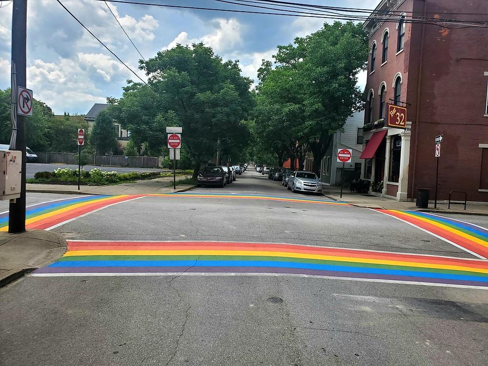 Rainbow crosswalks at an intersection in Covington, Kentucky.