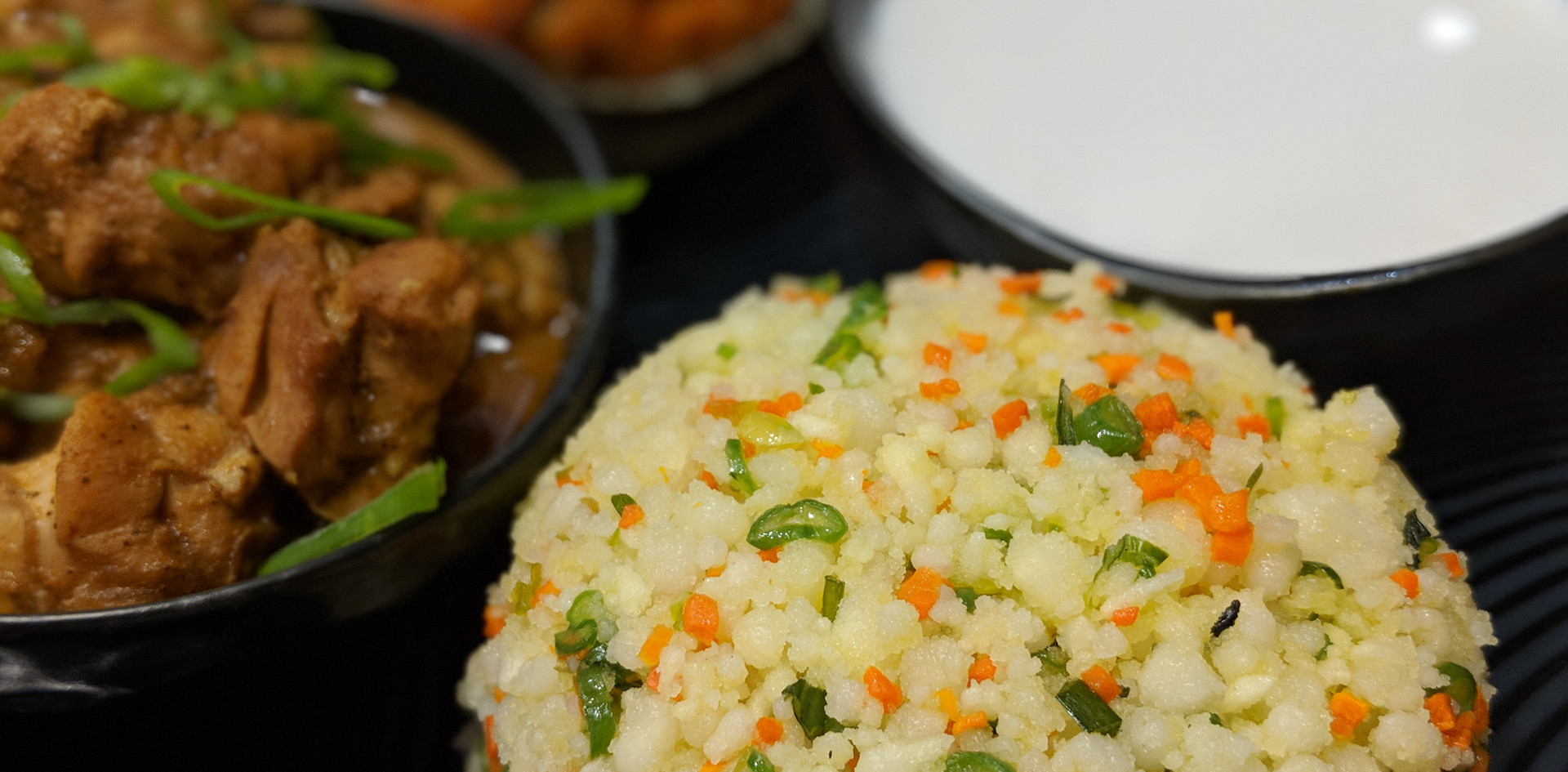 Pittu with Curry Chicken & Coconut Gravy