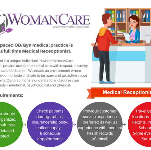 WomanCare Is Seeking A Full Time Medical Receptionist