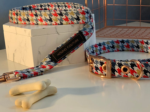 Red and Blue Printed Houndstooth Collar