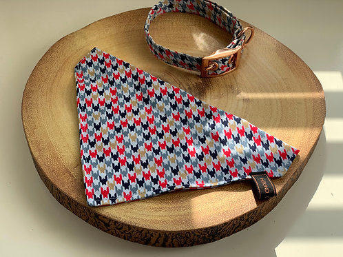 Red and Blue Printed Houndstooth Bandana
