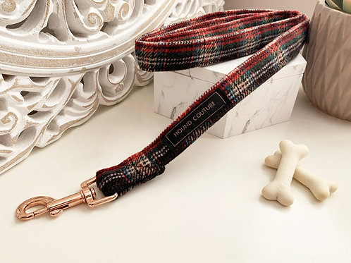 Chocolate and Red Tartan Lead