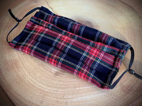 Navy and Red Tartan Face Covering