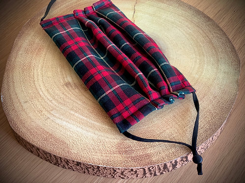 Green and Red Tartan Face Covering