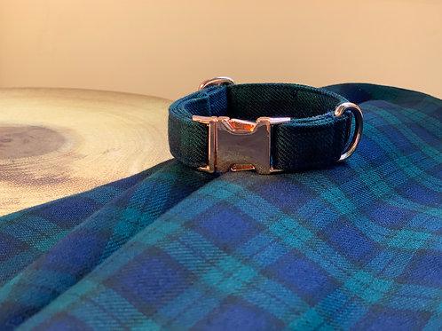 Navy and Emerald Tartan Collar
