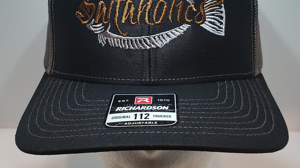 Saltaholics Grey and Brown logo on black and grey mesh richardson