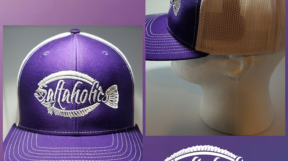 Saltaholics Flounder Logo on Purple