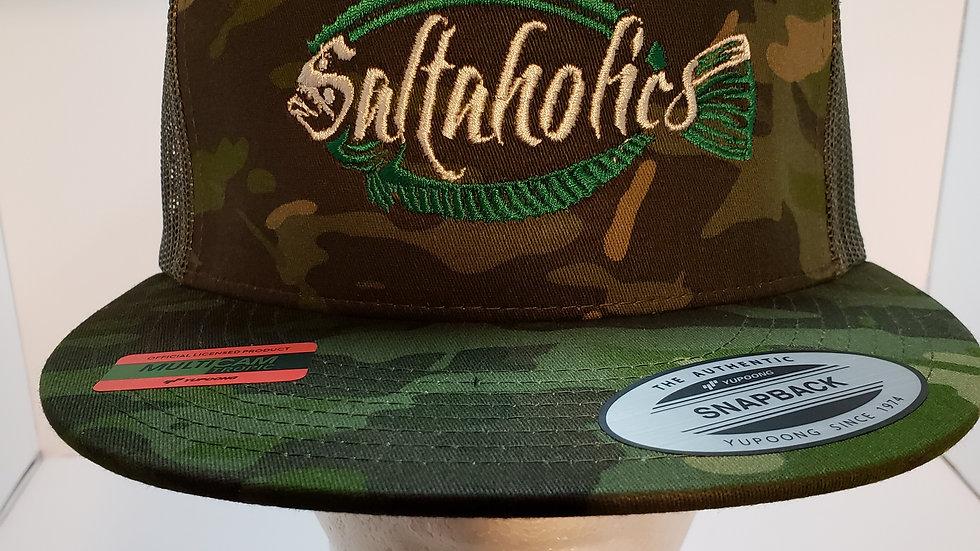 Saltaholics Camo Flat Bill Snapback Hat Flounder