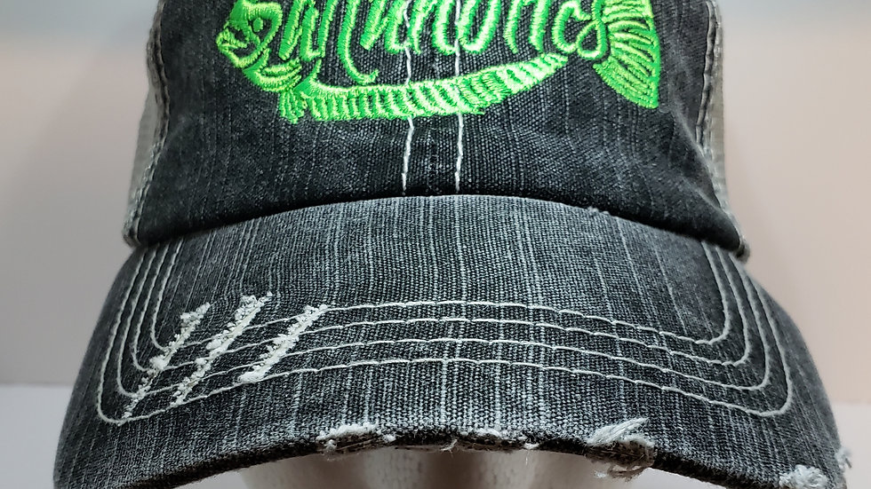 WOMEN'S PONYTAIL HAT-  DISTRESSED BLACK WITH GREY GREEN FLOUNDER