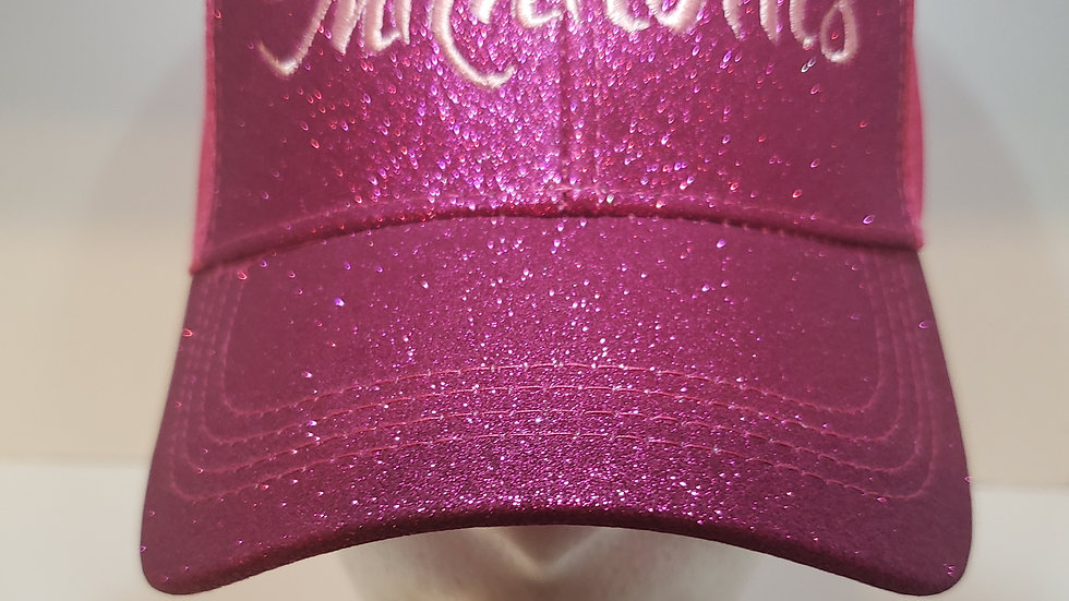 WOMENS PONYTAIL HAT- GLITTER HOT PINK