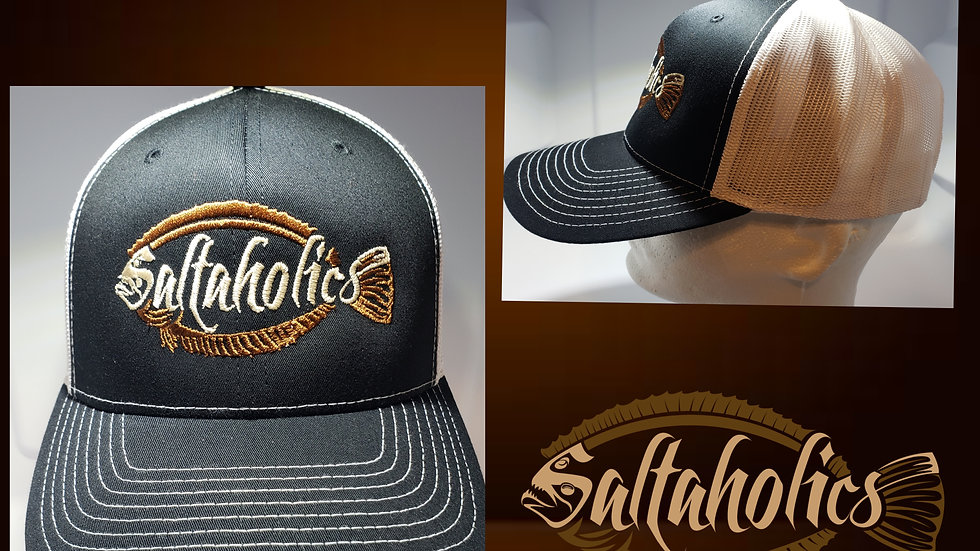 Saltaholics Flounder Logo on Black