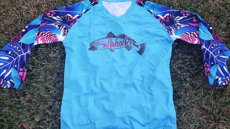 Women'sTropical Neon Blue Performance shirt