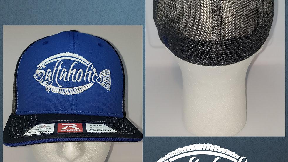 Saltaholics Flounder Flexfit Hat Royal Blue/Charcoal/Blk