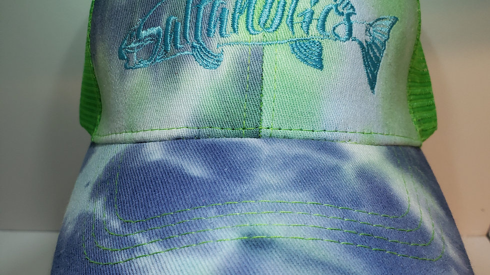 Womens Pony tail Tie Dye Blue and Green With Light Blue Redfish logo