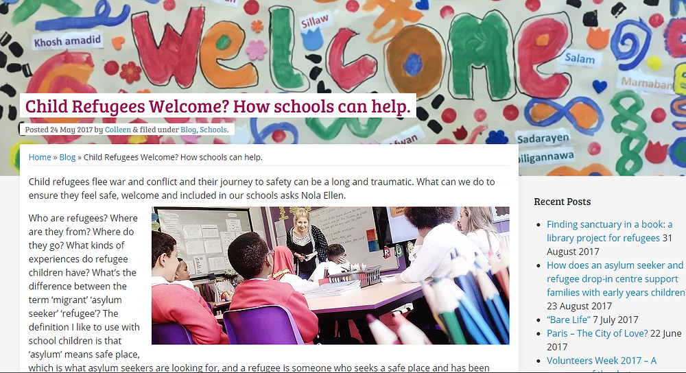 Blog page from School of Sanctuary website