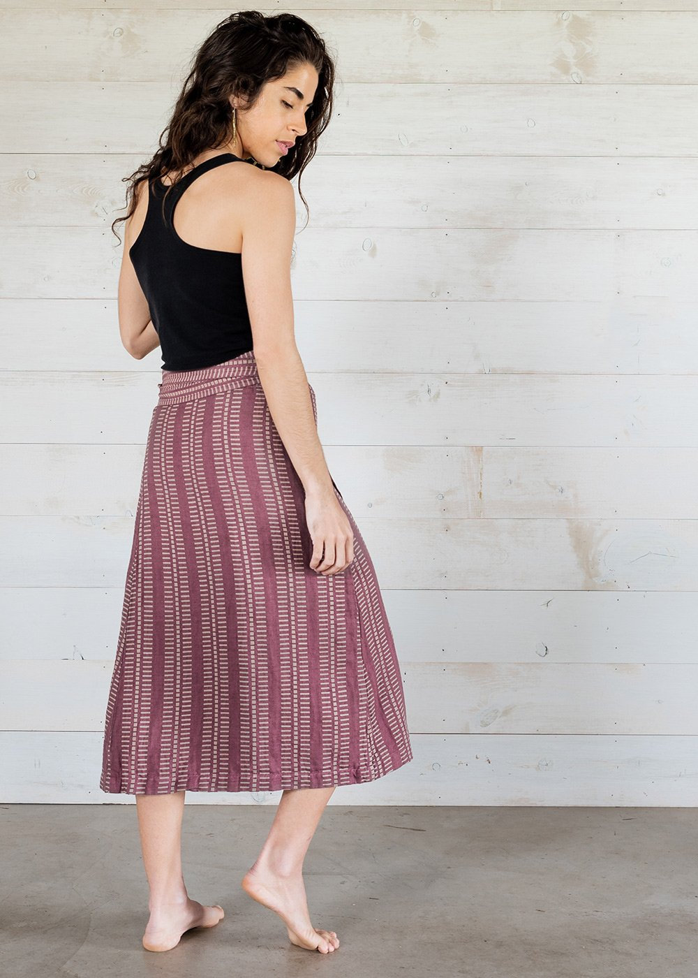 turquoise and purple wrap skirt midi organic coolawoola