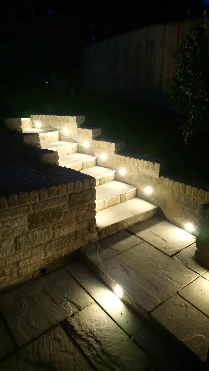 These lights really do look stunning once installed and accentuate the stone work on the steps.