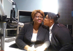 Paula with kissing guest