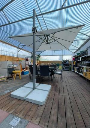 Garden Parasol at gardenzone distributors showroom display