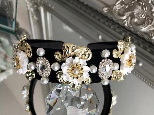 Britney Headband Black white Gold