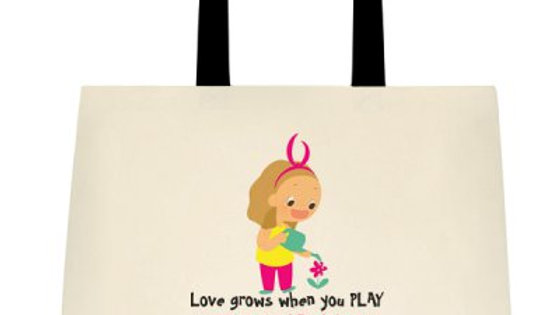 """Love grows when you PLAY"" Cotton Tote Bag"