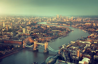London aerial view with  Tower Bridge in