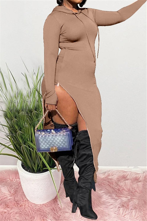 Hooded split dress