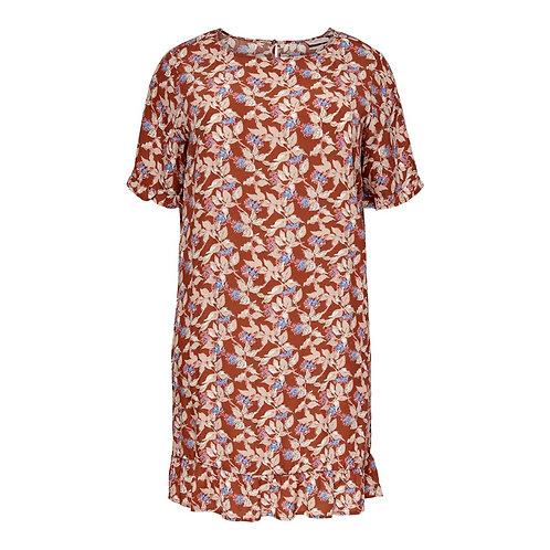 ONLY Carmakoma jurk LANA roestbruin met bloempatroon
