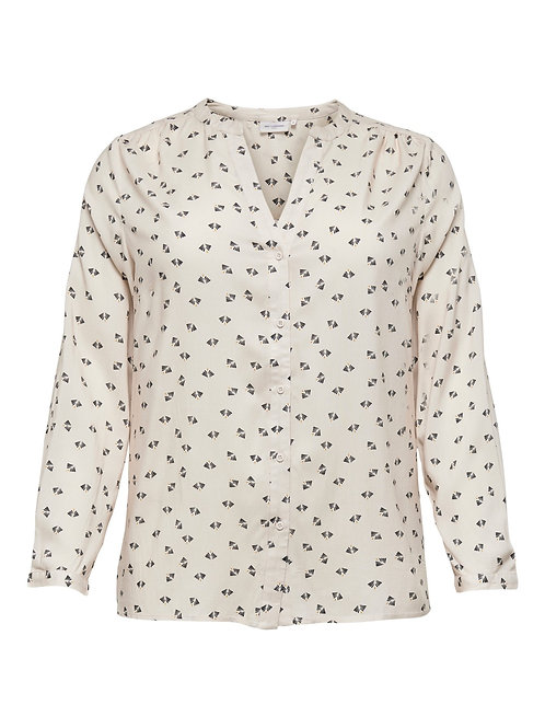 ONLY Carmakoma blouse roomwit met grafische print
