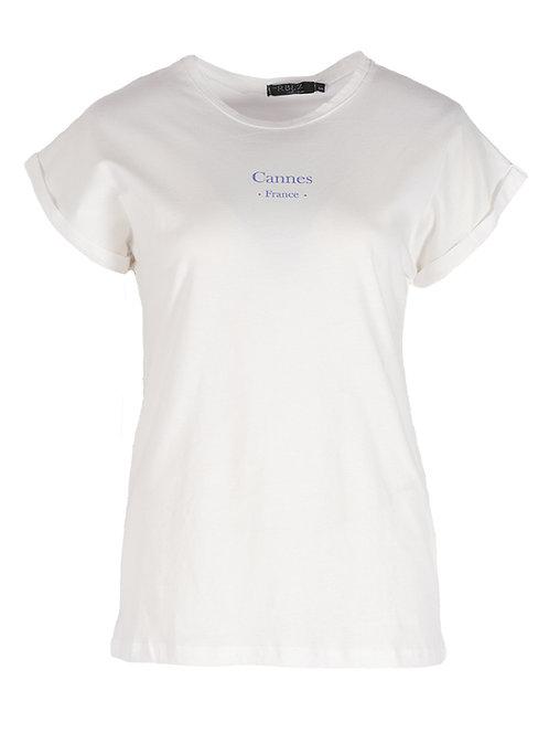 Rebelz T-shirt Jessica wit met blauwe tekst