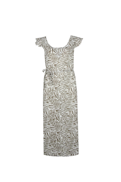 C&S jurk Marre wit met lichtbruine print