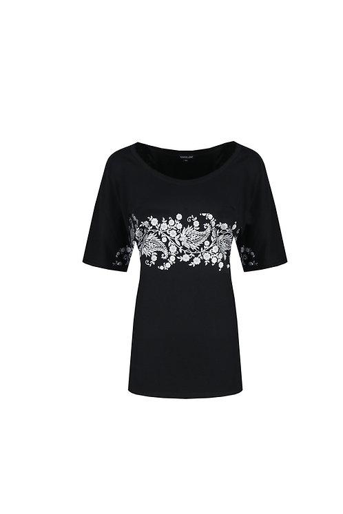 Exxcellent T-shirt Marielle zwart met zilveren print