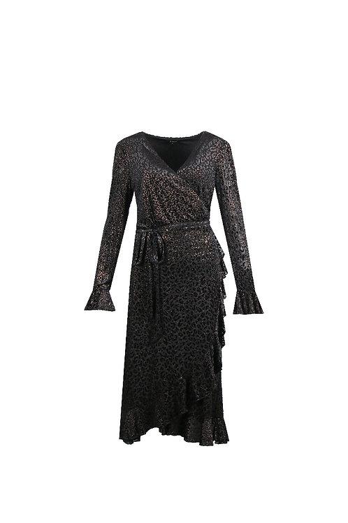G-maxx jurk zwart met bronzen panterprint