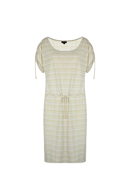 G-maxx jurk Geertje wit met geel patroon