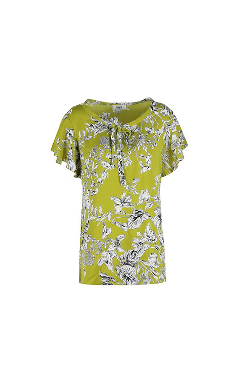 C&S top neongeel met bloemenprint