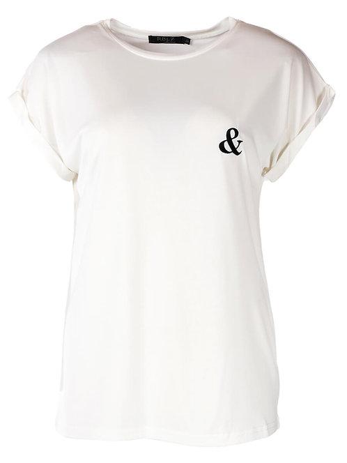 Rebelz T-shirt Fenna wit met zwart
