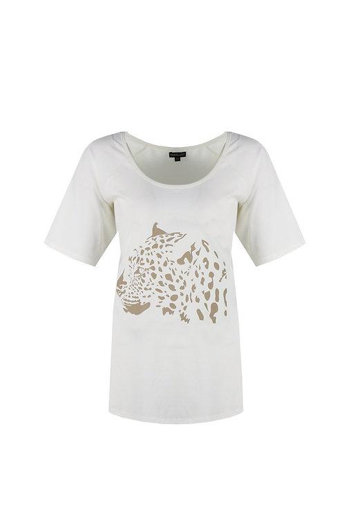 Exxcellent T-shirt roomwit met beige panterkop